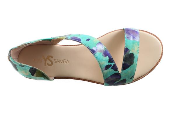 Casey Calypso Green Watercolor Leather Sandal