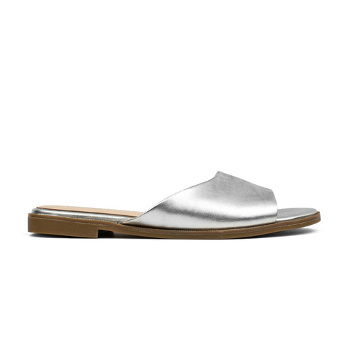 Constantine Silver Metallic Leather Slide