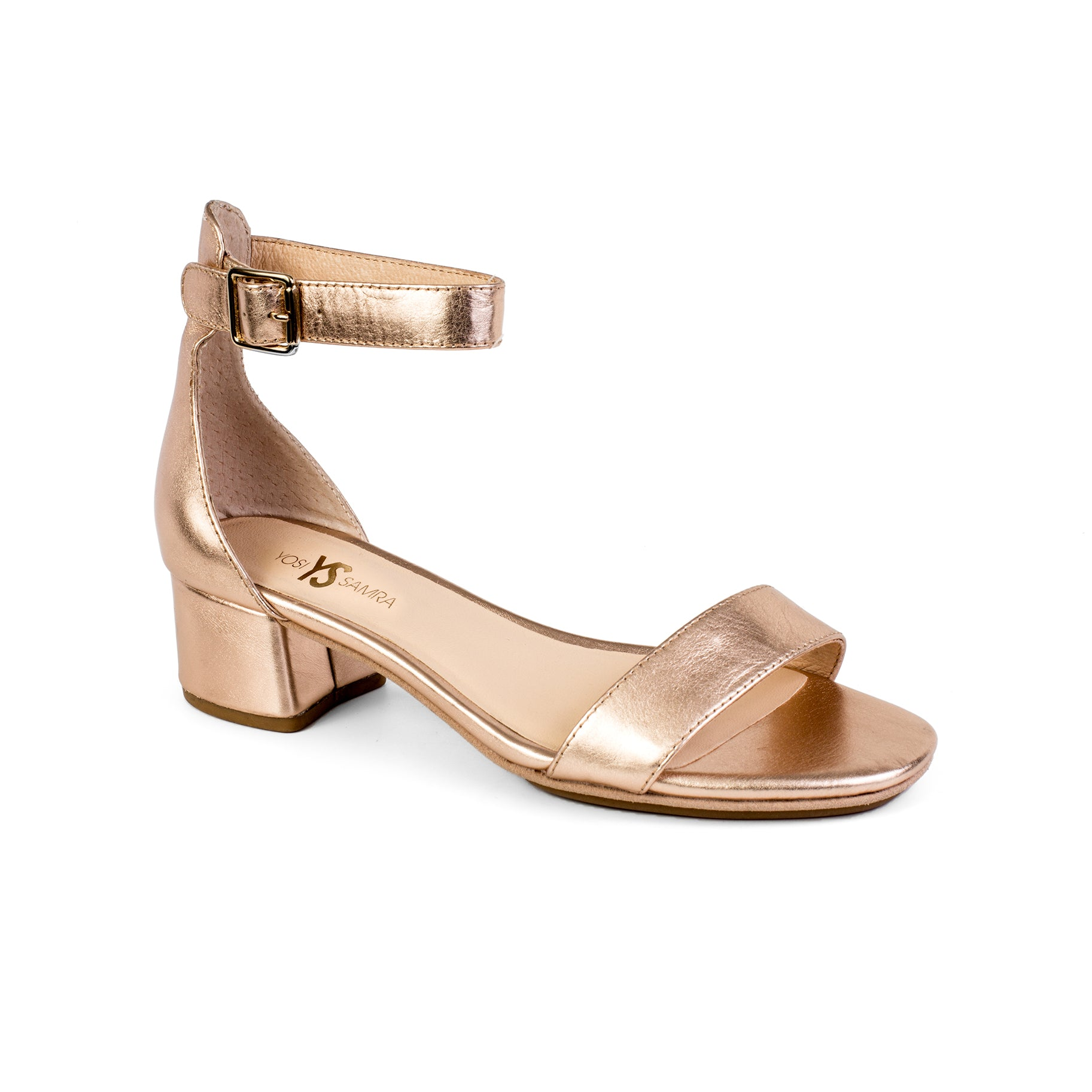 yosi samra rose gold metallic leather heel