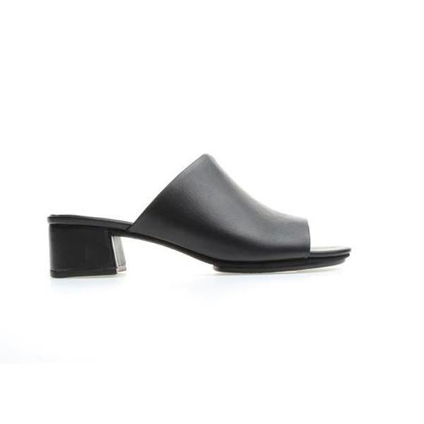 yosi samra black leather heeled mule