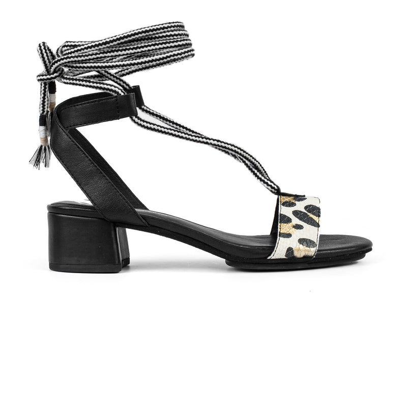 yosi samra black white leopard leather heel with tie