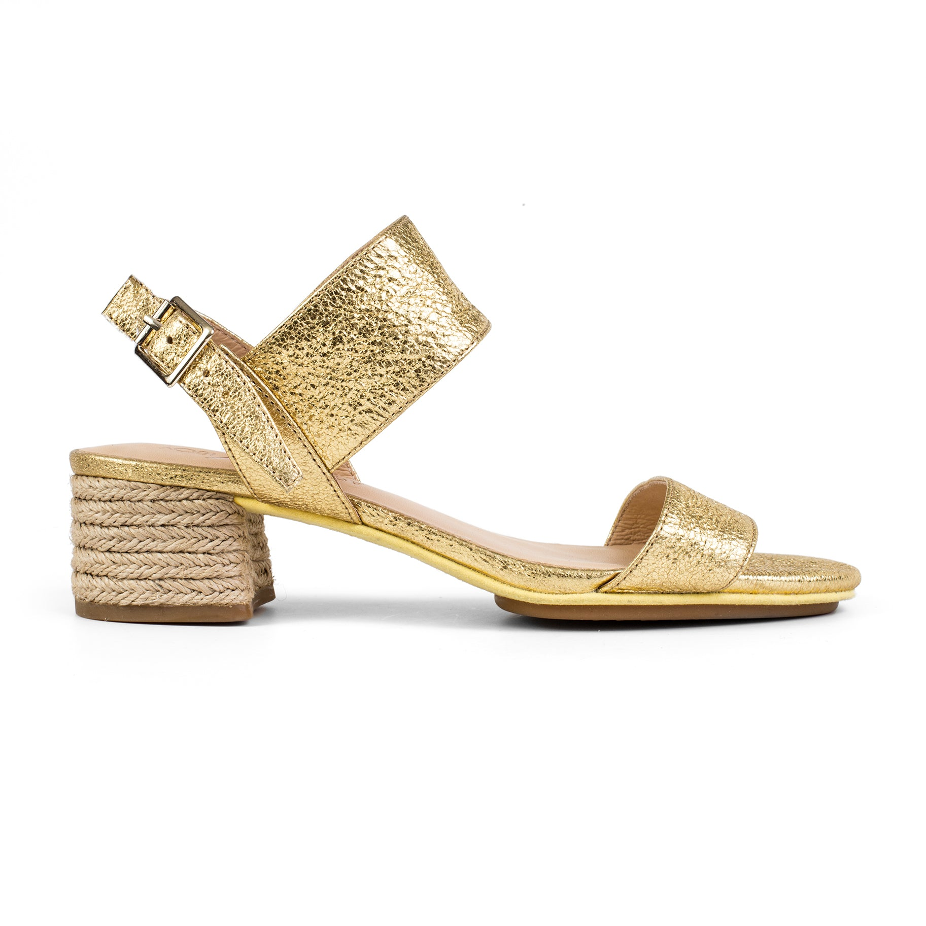 Dori Gold Metallic Leather Heel