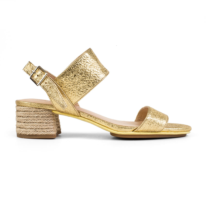 yosi samra gold metallic leather block heel