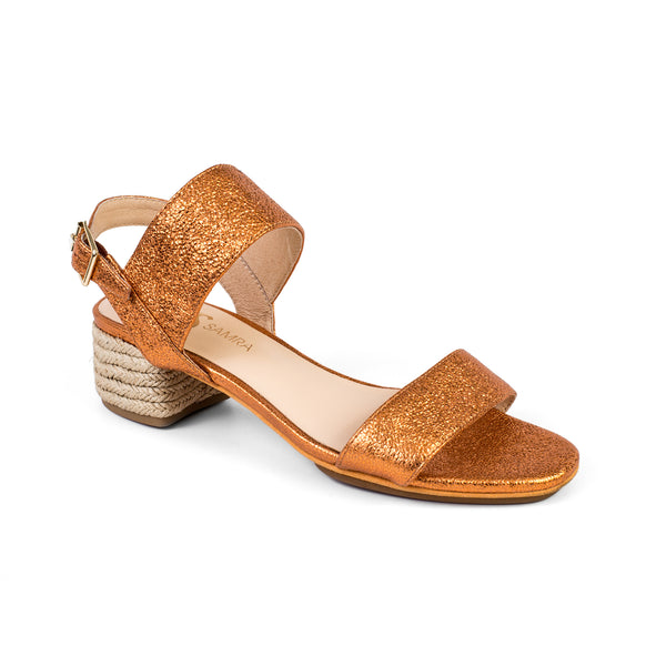 yosi samra orange metallic leather block heel