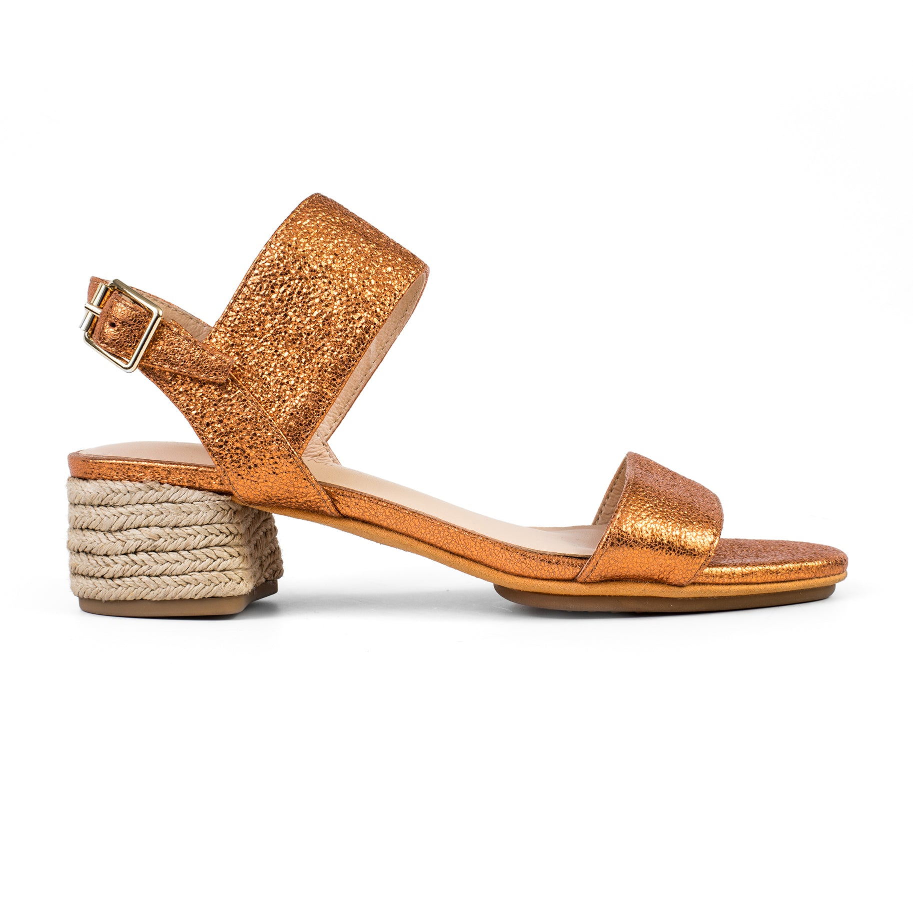 Dori Orange Metallic Leather Heel