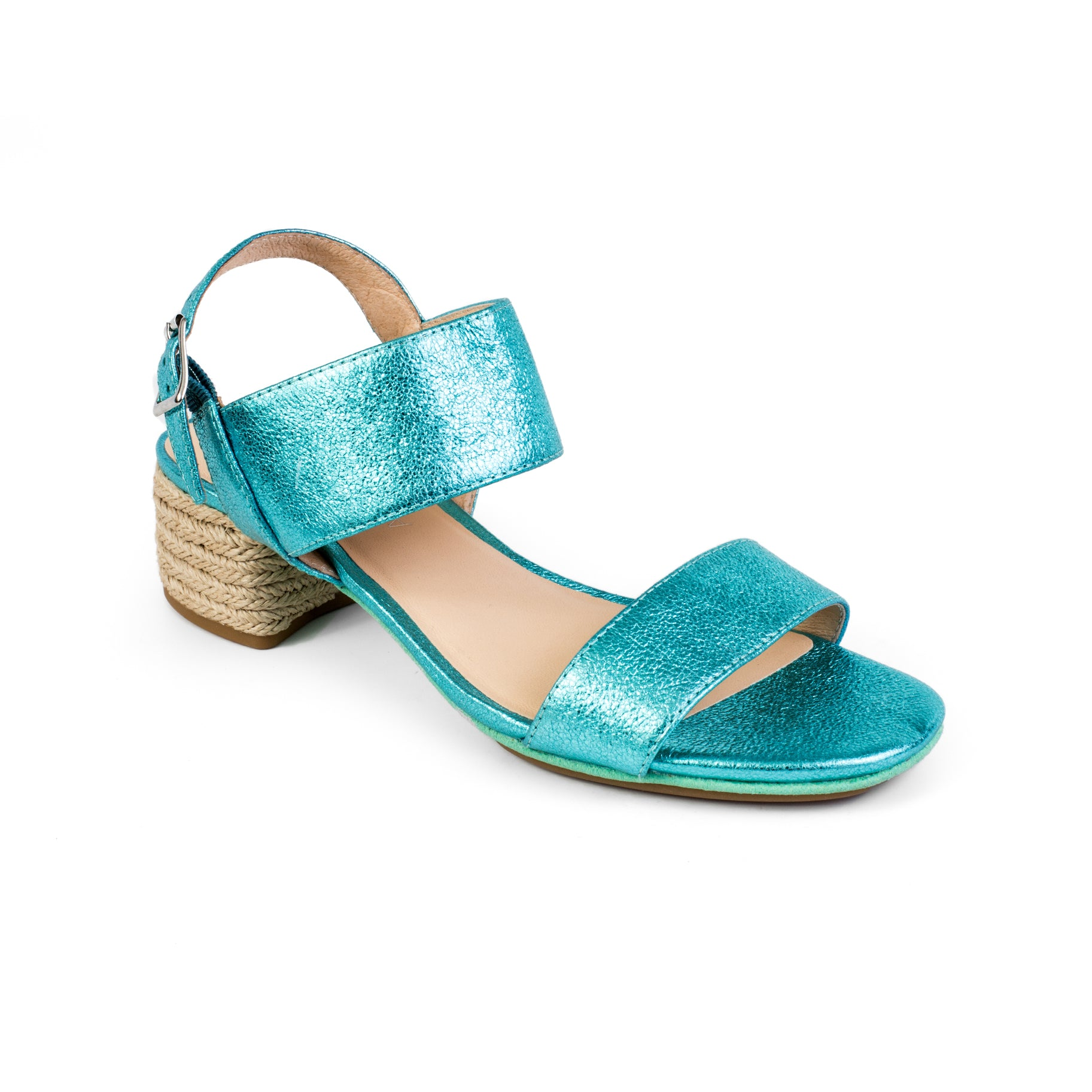 yosi samra turquoise metallic leather block heel