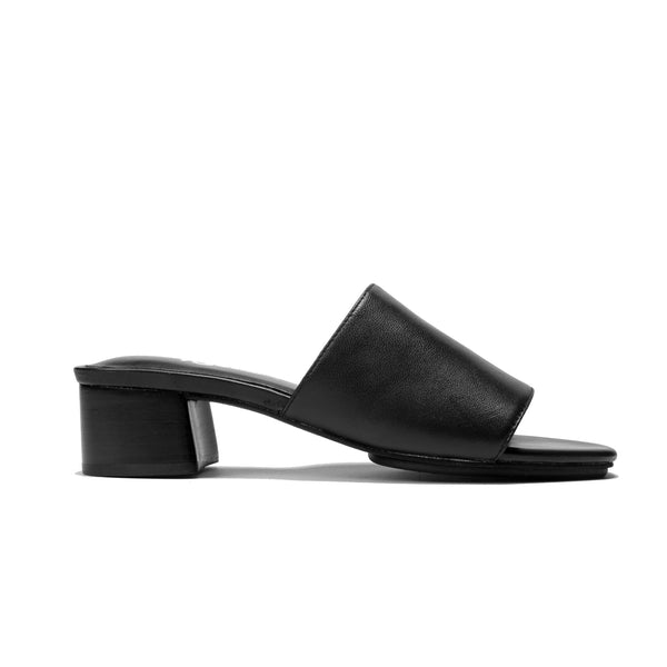 Drea Black Leather Stacked Heeled Mule