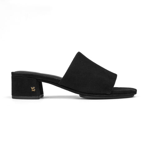 Vixen Black Suede with Fur Mule