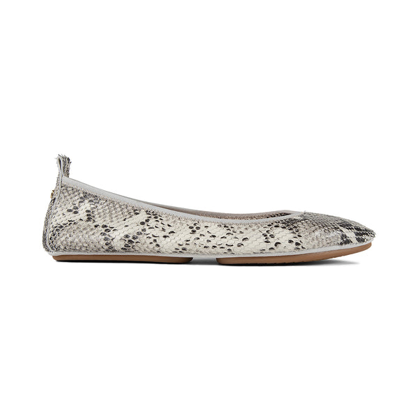 Vienna Natural Python Print Leather Pointed Toe Flat