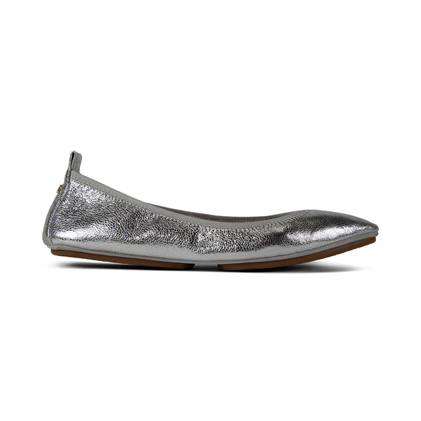 Vienna Silver Textured Leather Pointed Toe Flat
