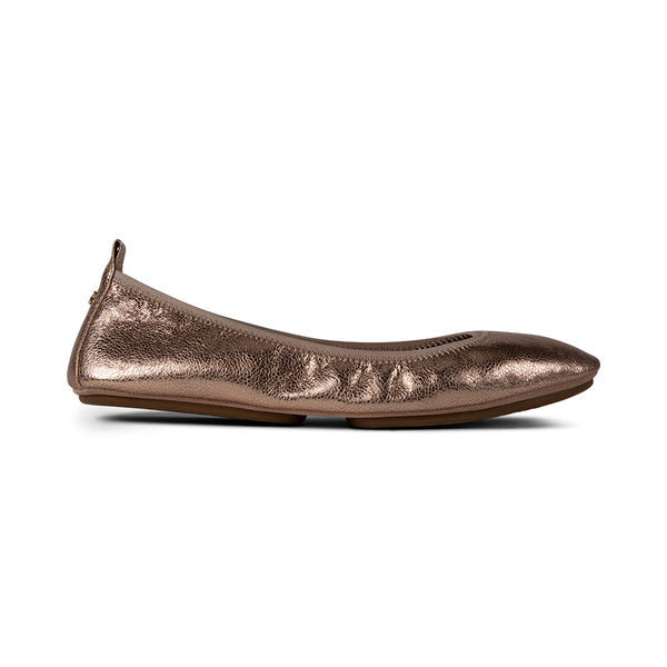 Vienna Rosegold Textured Leather Pointed Toe Flat