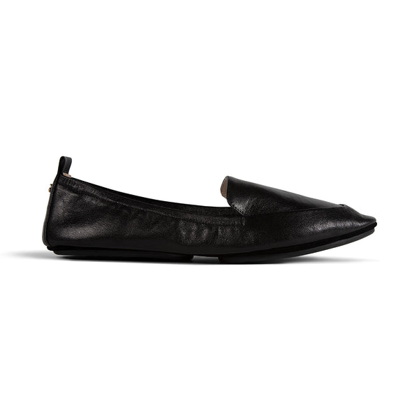 Skyler Black Tumbled Leather Loafer