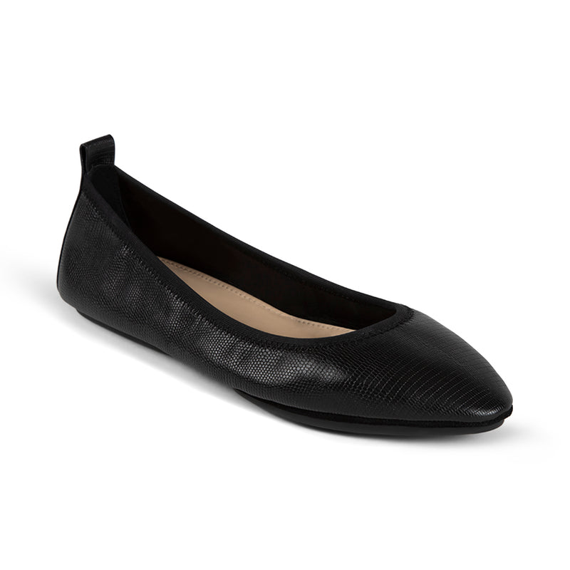 Vienna Black Lizard Print  Pointed Toe Flat