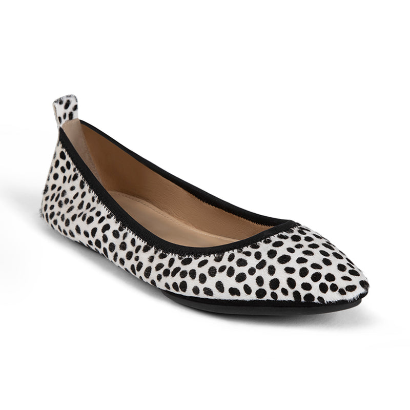 Vienna Ivory Spotted Calf Hair Pointed Toe Flat