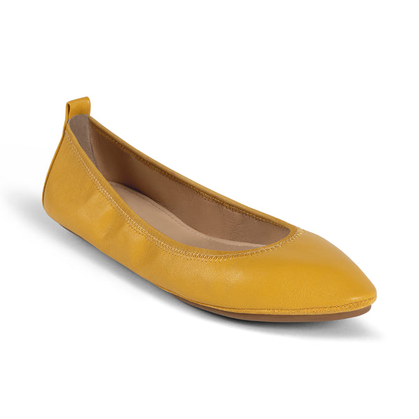 Vienna Mustard Capri Leather Pointed Toe Flat