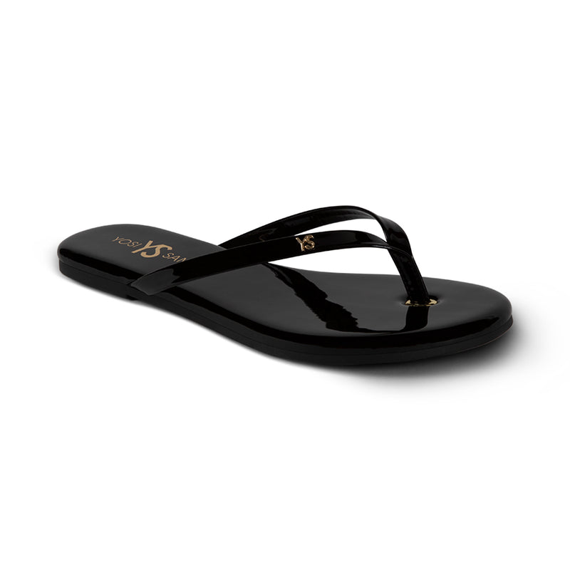 Rivington Black Patent Leather Flip Flop