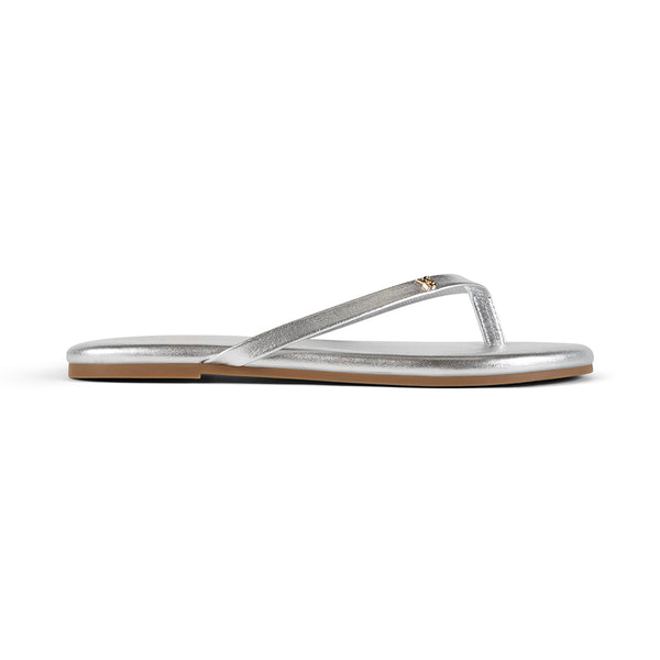 Rivington Silver Metallic Leather Flip Flop