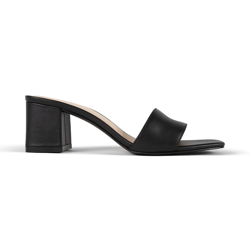 Danielle Black Leather Heeled Slide