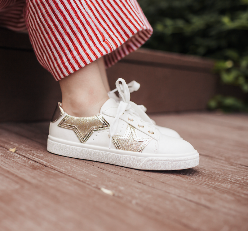 miss harper gold star white sneaker kids yosi samra shoe