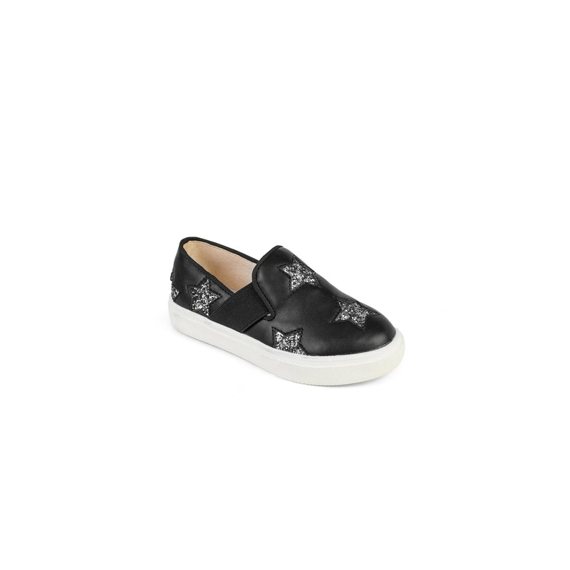 yosi samra van slip on black leather silver star kids
