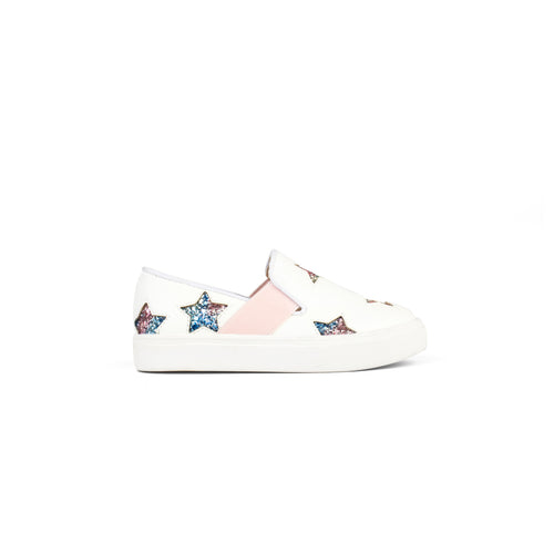yosi samra van slip on white leather rainbow glitter star kids