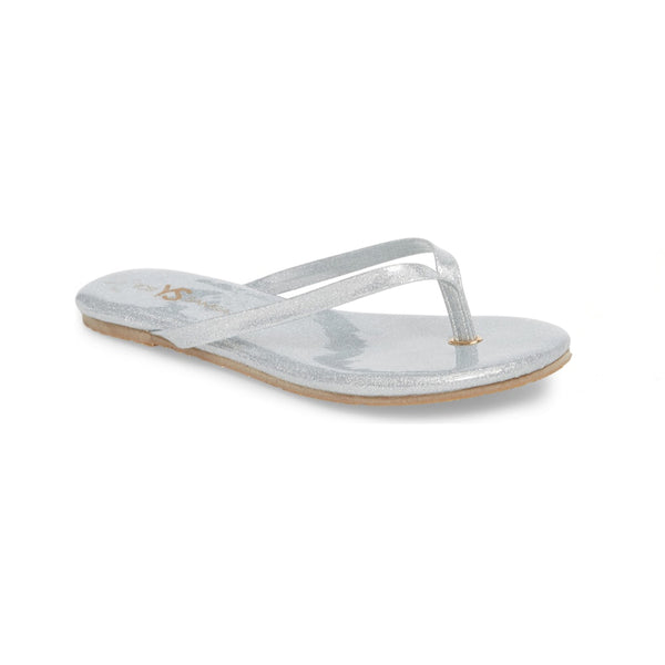 yosi samra silver glitter leather flip flop kids