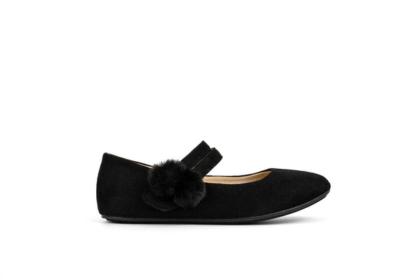 Miss Sandie Black Suede with Pom Pom Ballet Flat - Children's
