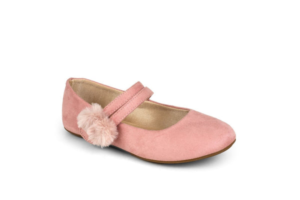 Miss Sandie Rose Suede with Pom Pom Ballet Flat - Children's