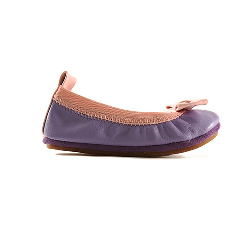 yosi samra purple pink leather ballet flat with bow kids