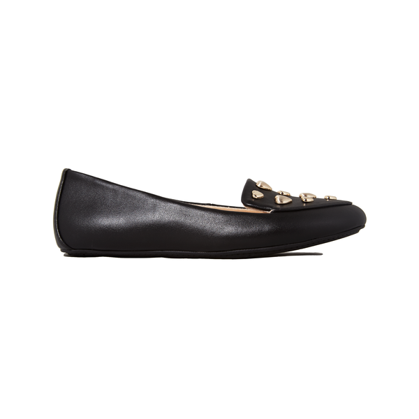 Yosi Samra black studded loafer flat kids