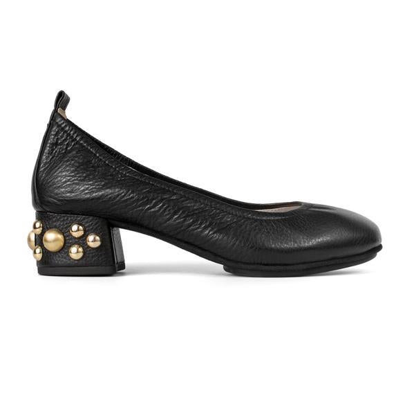Yosi Samra Black Leather Studded Heel Pump