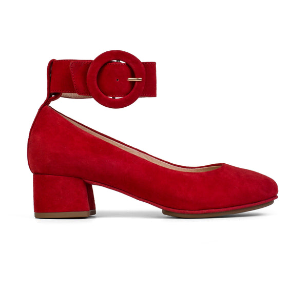 Natalie Pompeiian Red Suede Buckle Pump