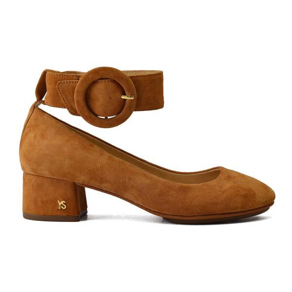 Natalie Bone Brown Suede Buckle Pump