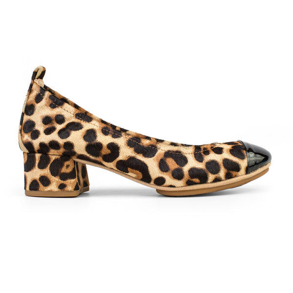 Yosi Samra Leopard Calf Hair Black Cap Toe Pump Heel