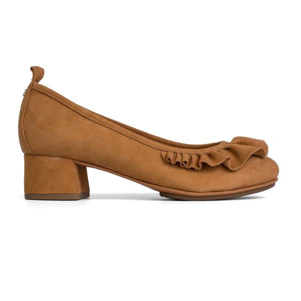 Yosi Samra Bone Brown Suede Ruffle Heel Pump
