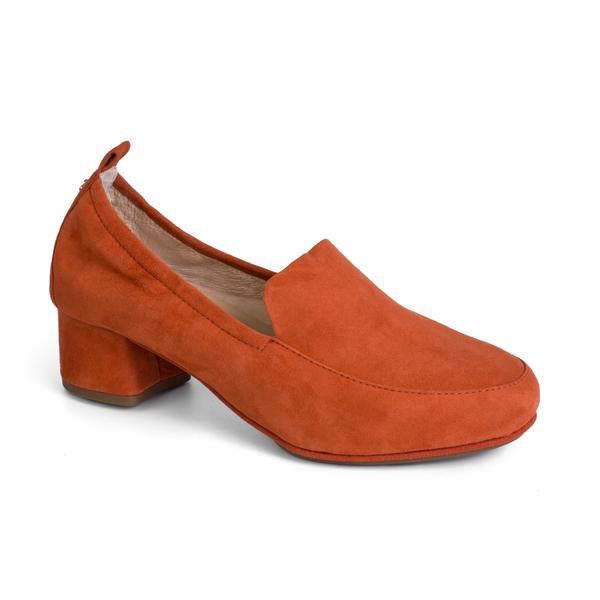 Yosi Samra Rust Brown Suede Loafer Pump Heel
