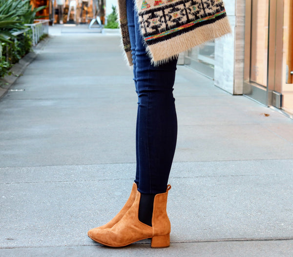 Penelope Bone Brown Suede Booties