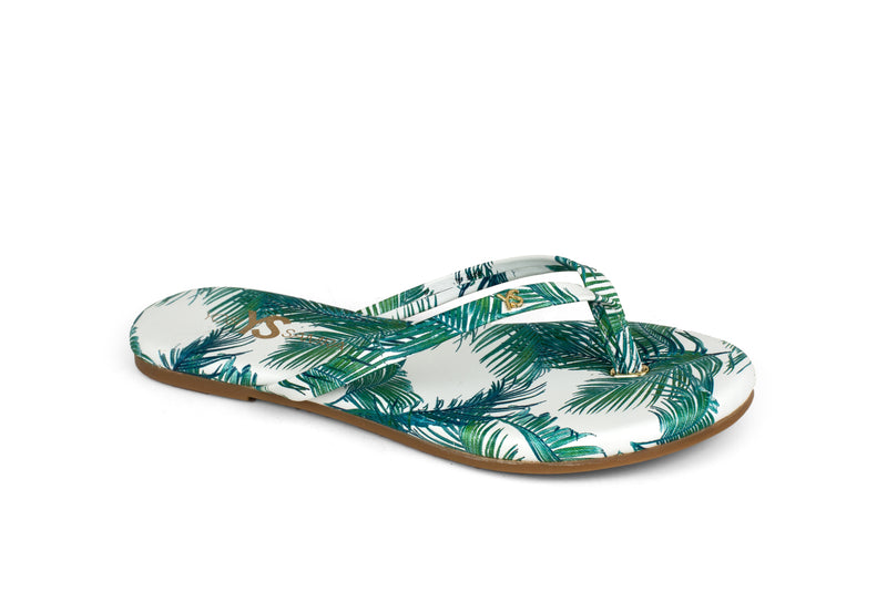 Rivington White Palm Print Leather