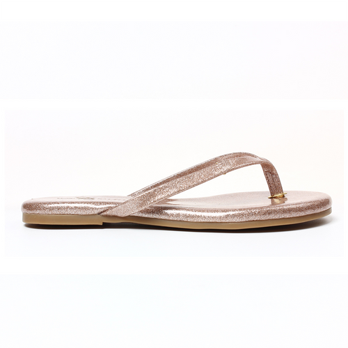 Yosi Samra rose gold patent glitter metallic leather flip flop