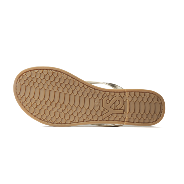 Yosi Samra Gold Metallic Leather Fip Flop