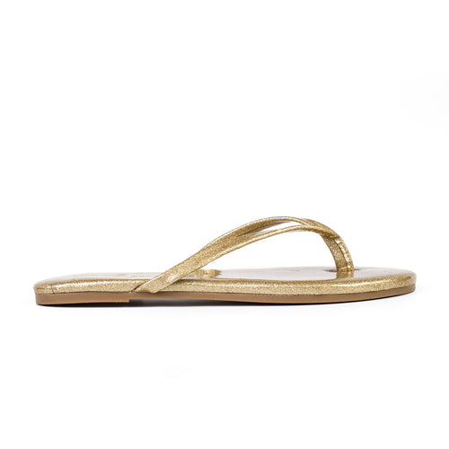 Yosi Samra Gold Patent Glitter Leather Fip Flop