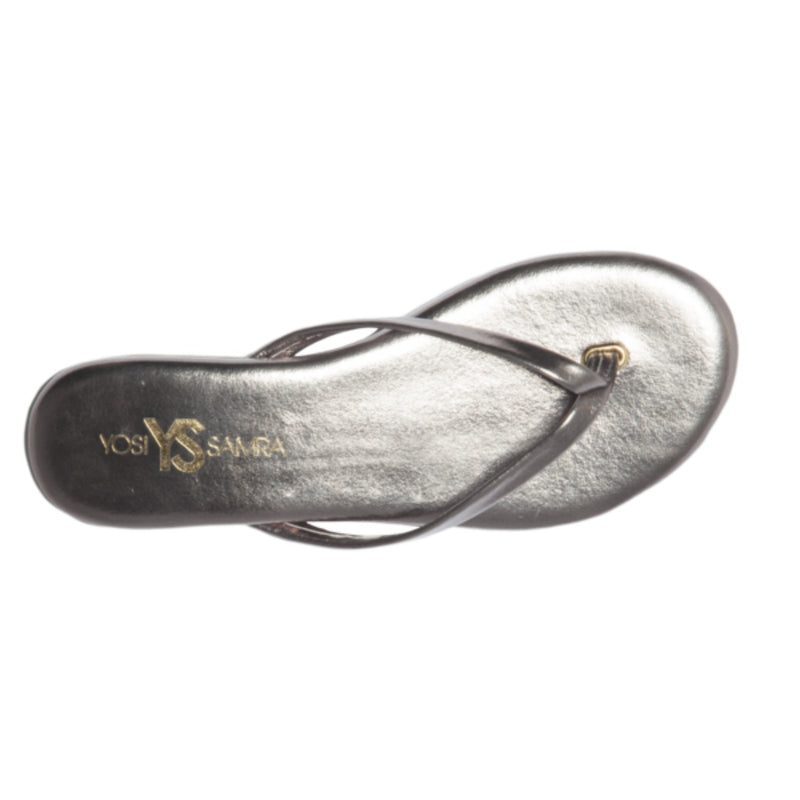 Yosi Samra pewter silver metallic leather flip flop