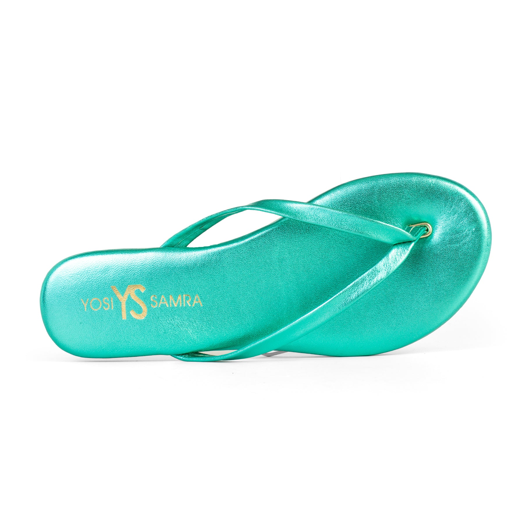 Yosi Samra seafoam blue green metallic leather flip flop