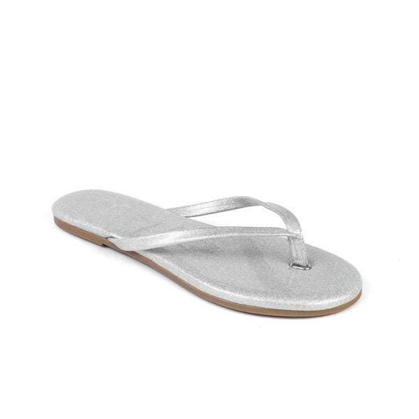 Yosi Samra silver metallic leather flip flop