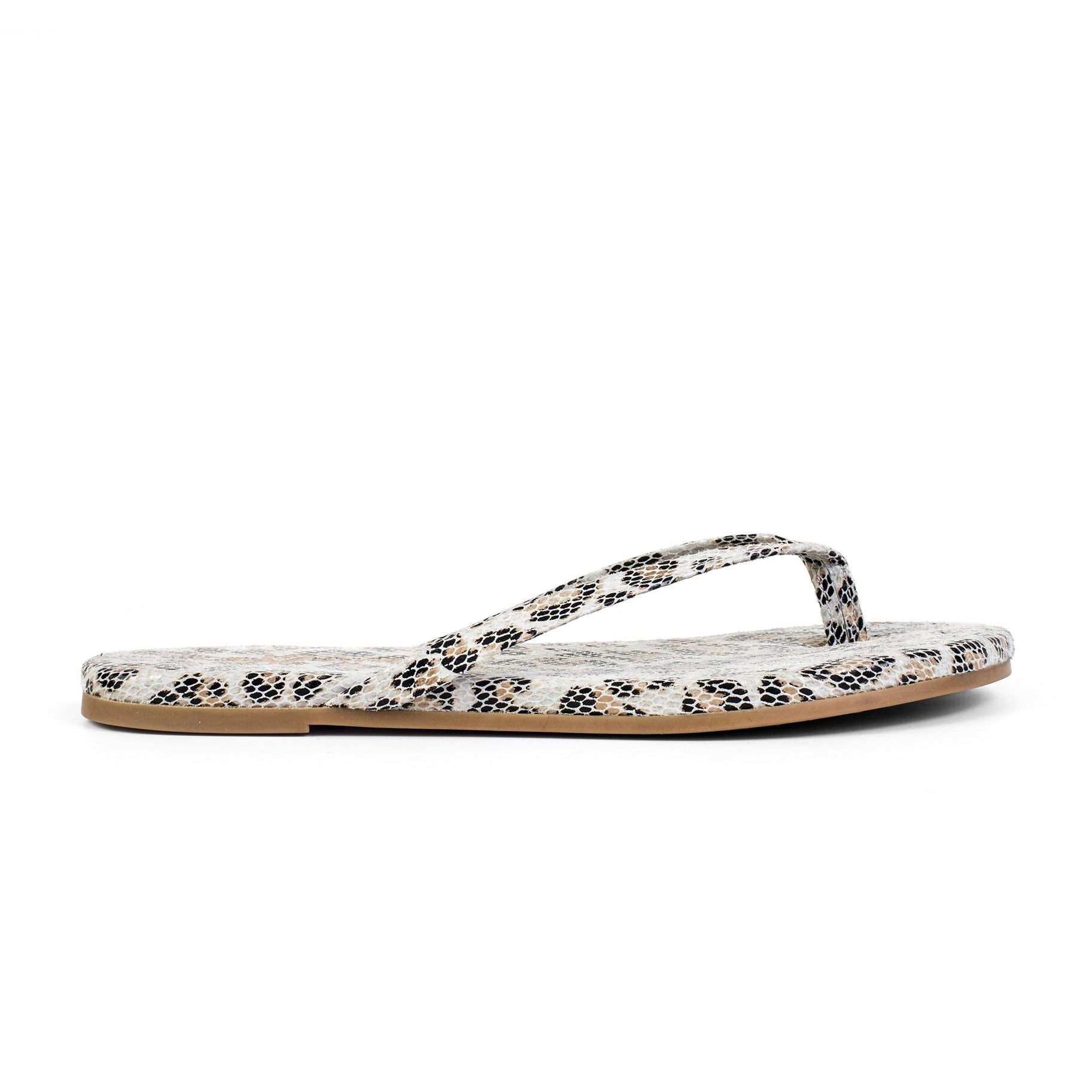 Yosi Samra white snake loepard leather flip flop