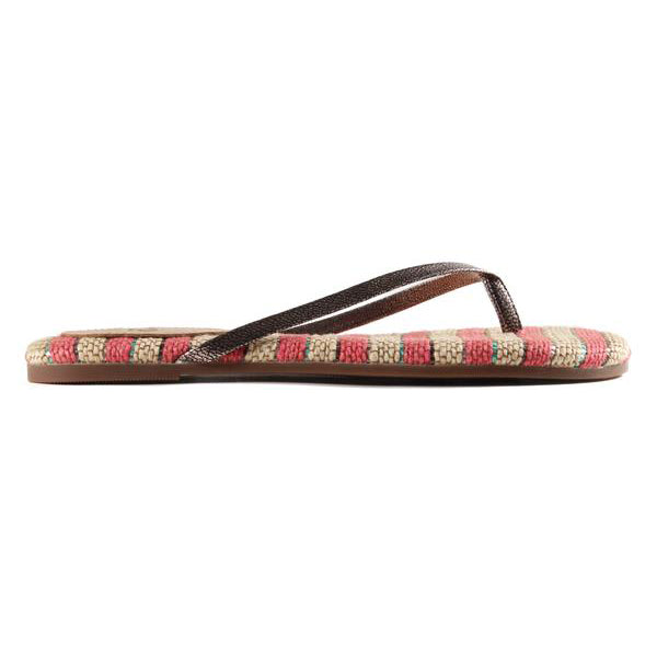 Yosi Samra jute pink stripe leather flip flop