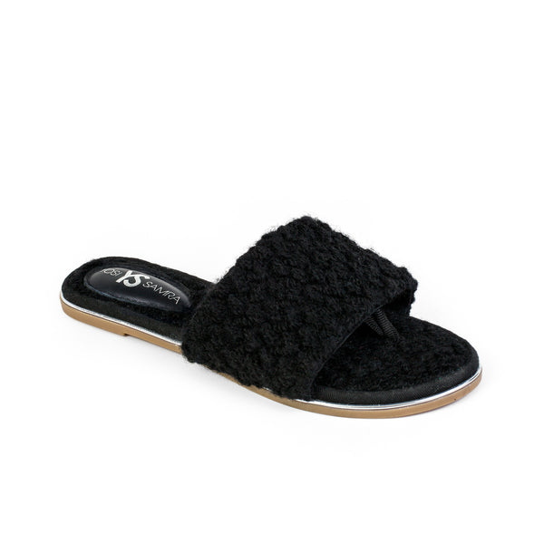 yosi samra black fur leather slide