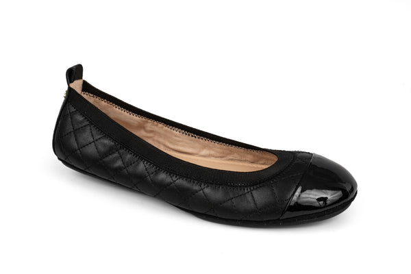 Samantha Black Nappa Quilted and Patent Leather Cap Toe Ballet Flat
