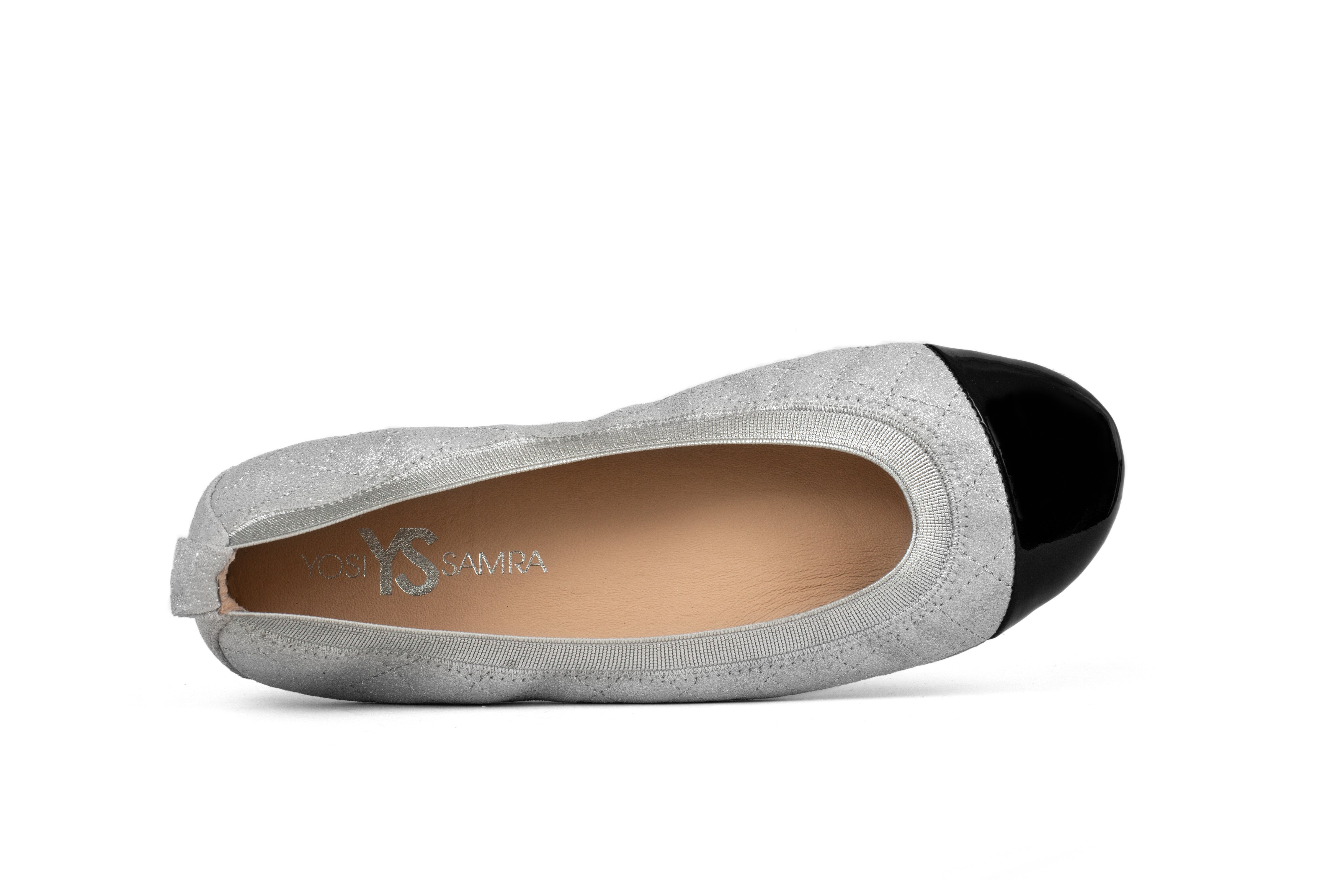 Samantha Silver Suede and Black Patent Cap Toe Ballet Flat