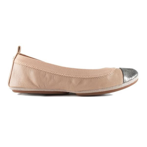 yosi samra nude natural pewter metallic leather cap toe ballet flat
